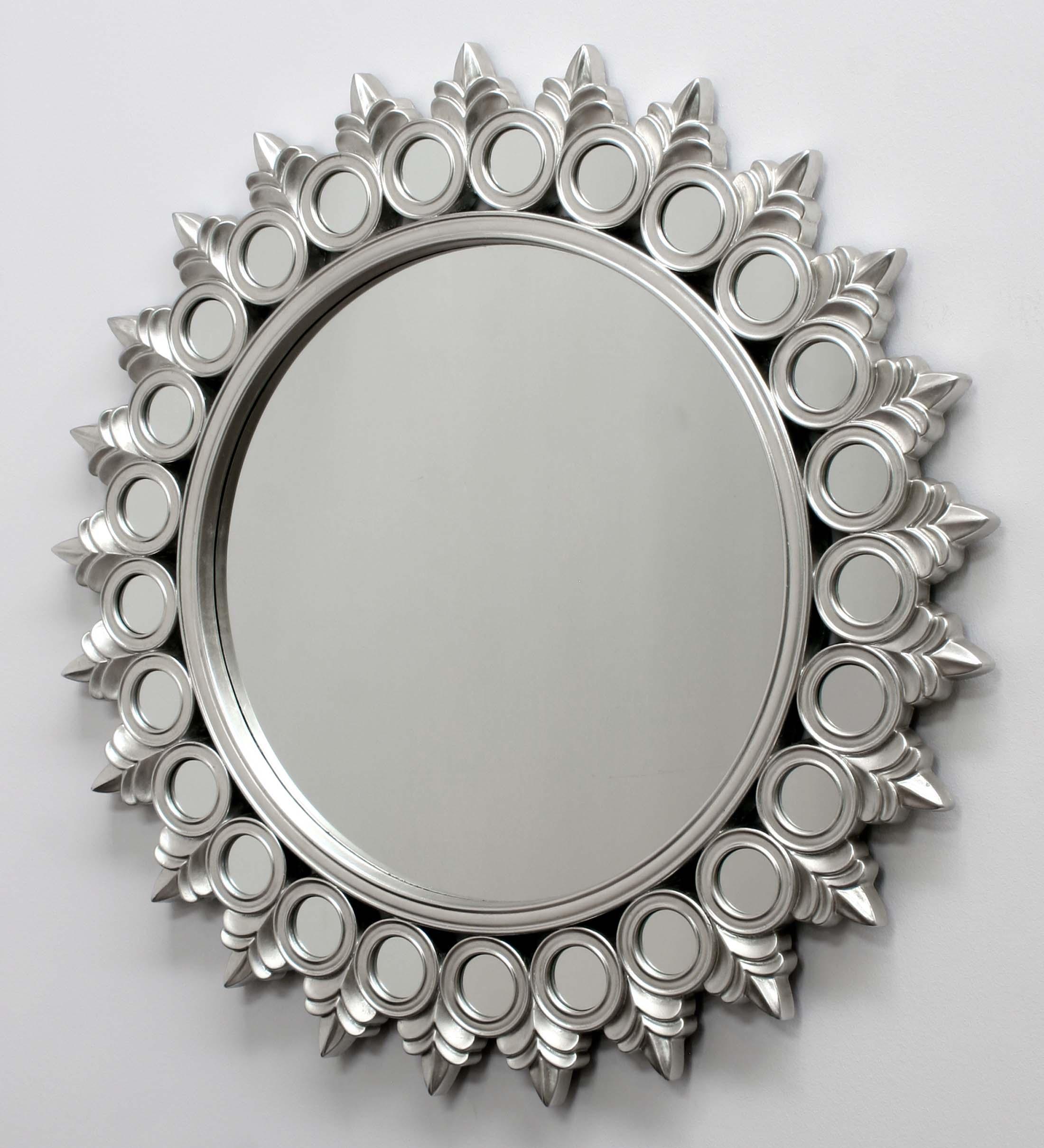 Espejo plateado de dise o moderno hecho en resina for Espejo de pie plateado